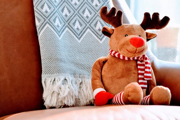 reindeer cuddly toy sat on a sofa