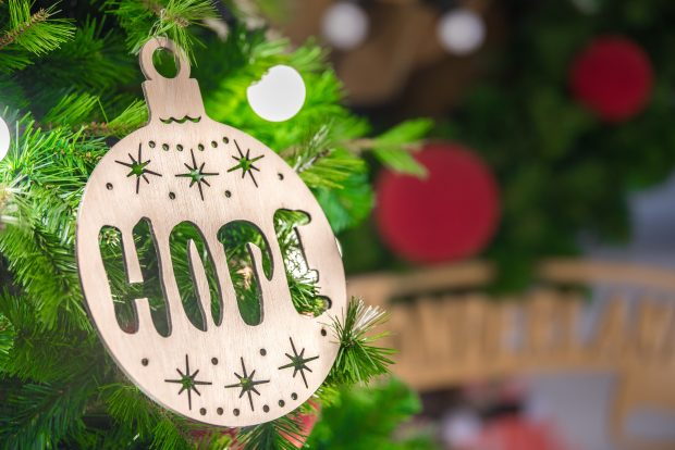 Christmas bauble with the word hope on it